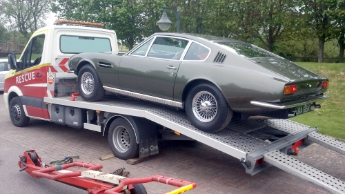 Aston Martin on recovery truck