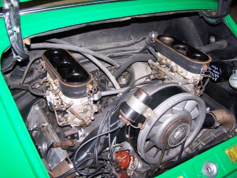 Engine of Green MG TC after carburettor servicing
