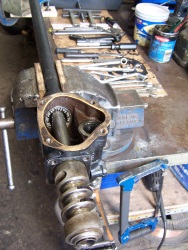 Steering box being rebuilt